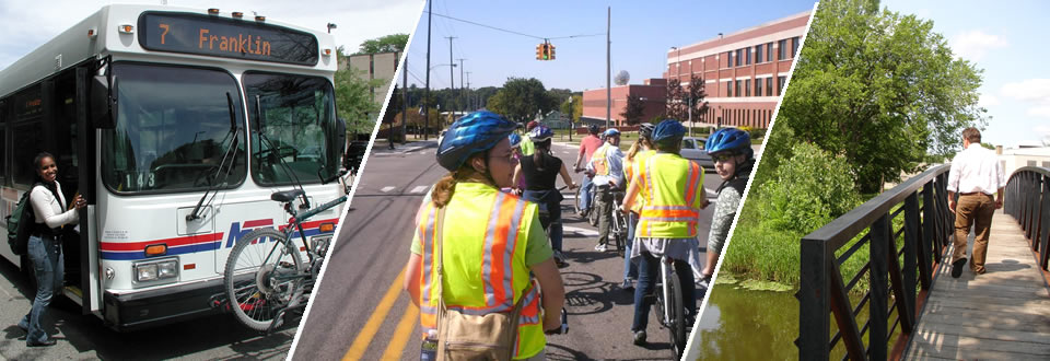 Header Image of People Biking, Walking & Busing